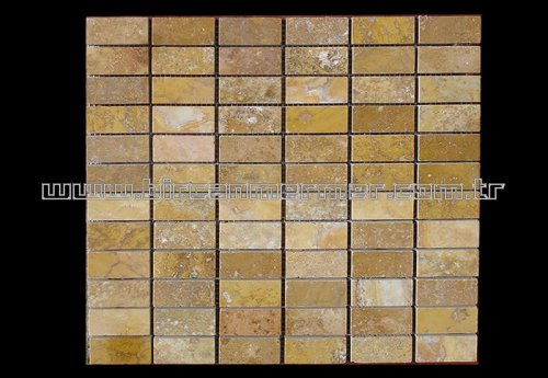 Sarı Traverten Düz Tuğla Cilalı 2.3x4.8