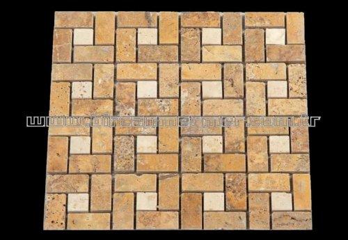 Sarı Traverten Tuğla Pattern 2.3x4.8